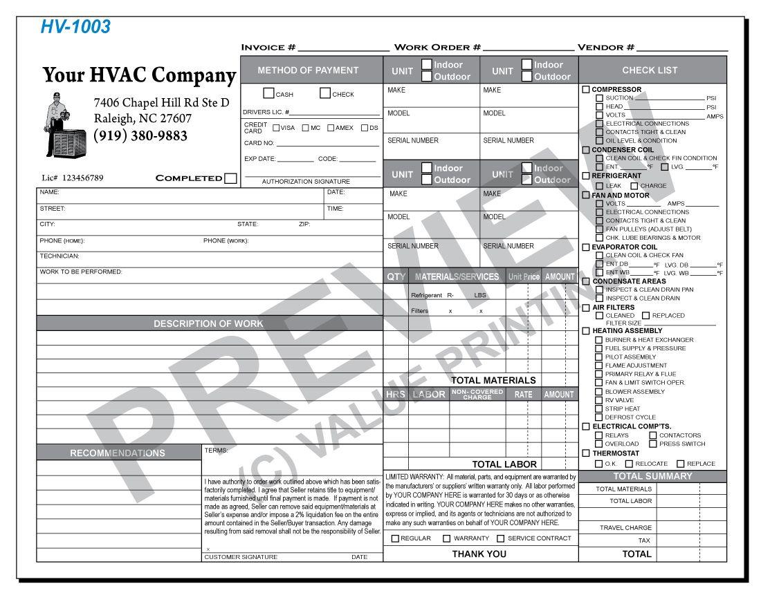 HV1003 HVAC Time & Materials Work Order Invoice 1