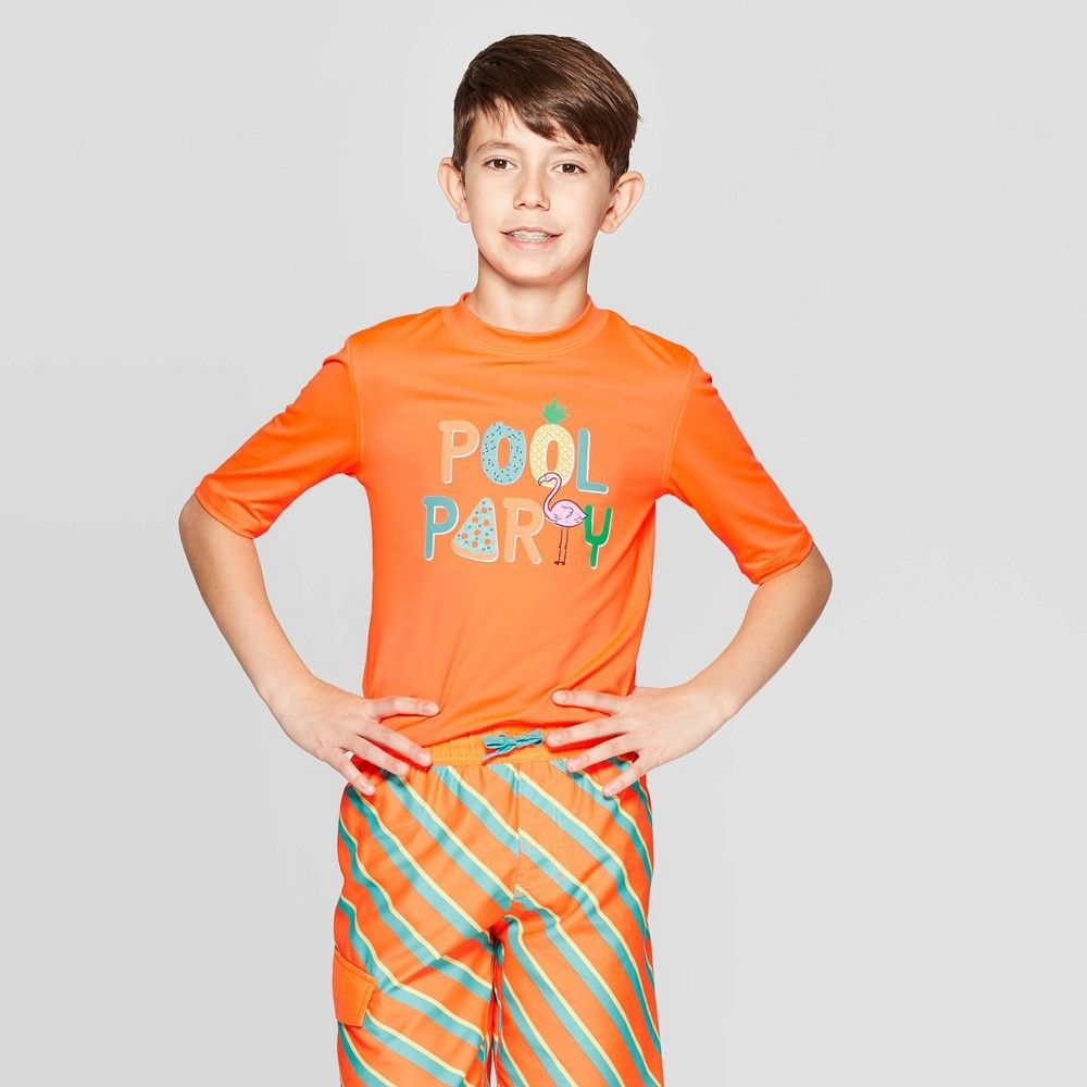 Boys Pools Party Rash Guards Art Class Orange L Boy Pool