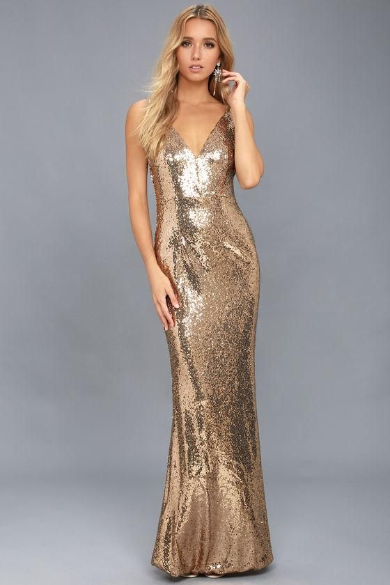 Lulus - #Lulus Here to Wow Gold Sequin Maxi Dress - AdoreWe.com ...