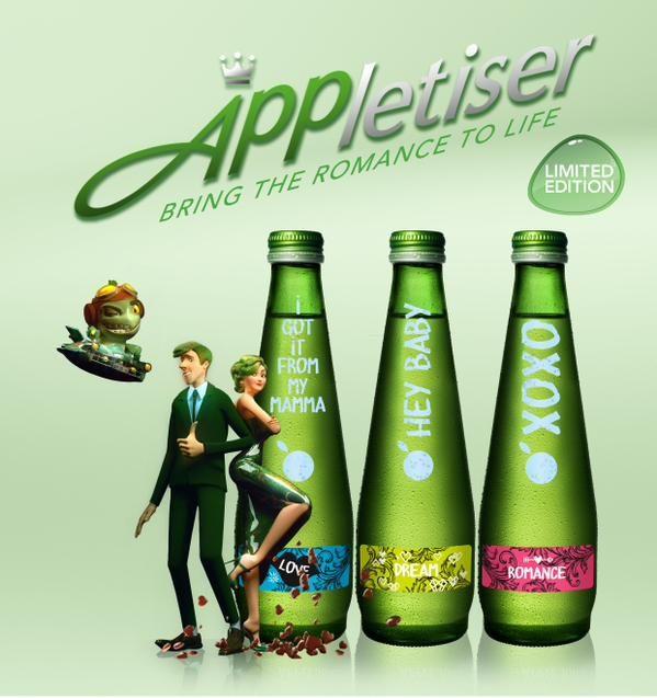 Appletiser dans une campagne de lancement de ses produits va faire utiliser la R.A via un mobile à ses consommateurs. ||| https://www.youtube.com/watch?v=gbSfgzqoTNE