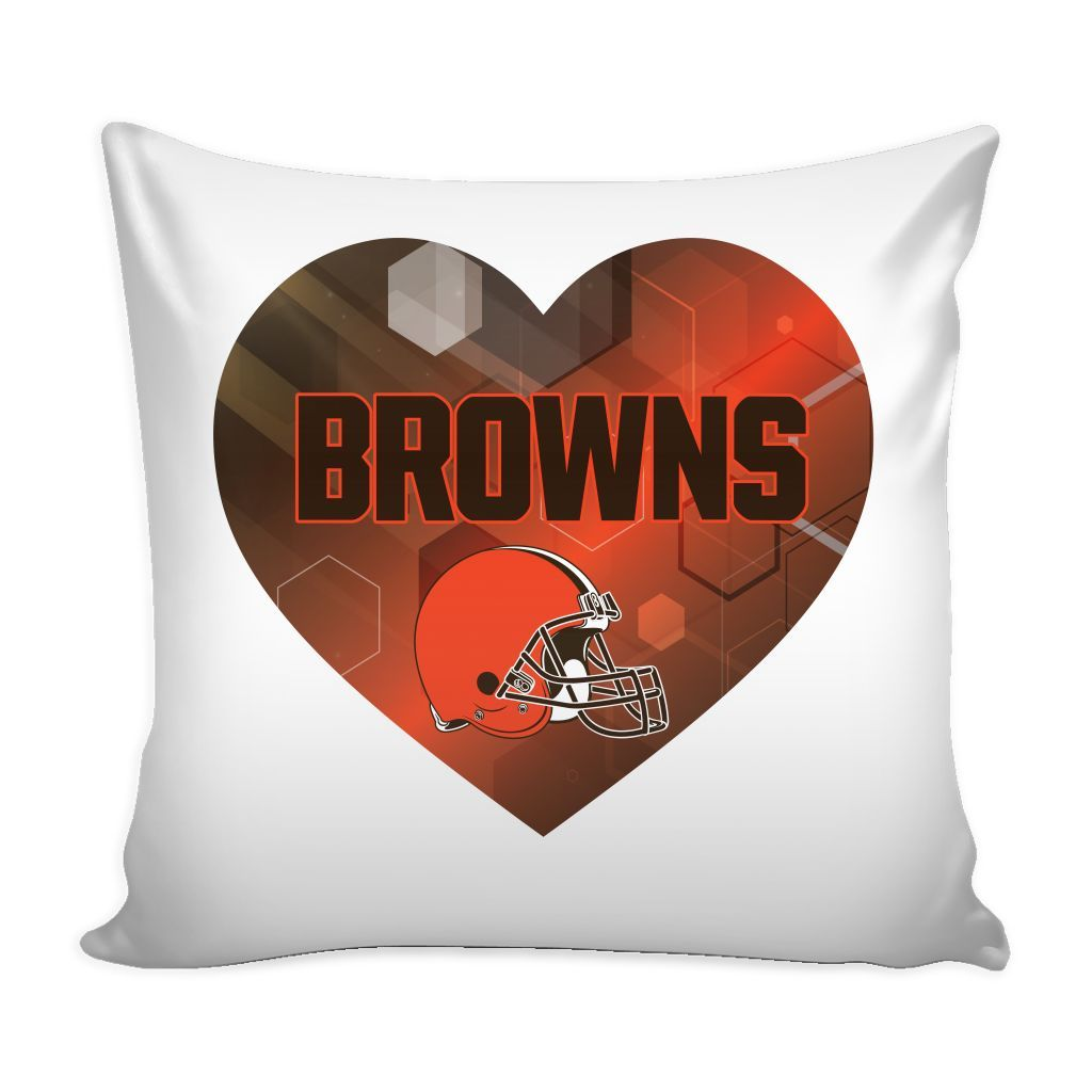 Cleveland Browns Patterned Heart Pillow Cover (Free Shipping)