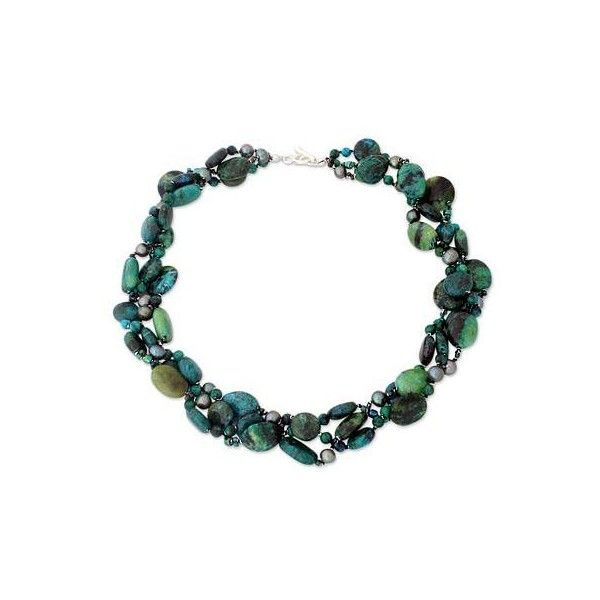 NOVICA Beaded Serpentine and Pearl Choker Necklace (96 AUD) ❤ liked on Polyvore featuring jewelry, necklaces, choker, fine silver, pearl choker, choker necklace, novica jewelry, beading necklaces and bead necklace