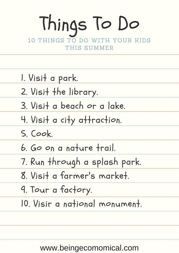 Things To Do With Kids  Free Things To Do With Kids  Summer Activities For Kid