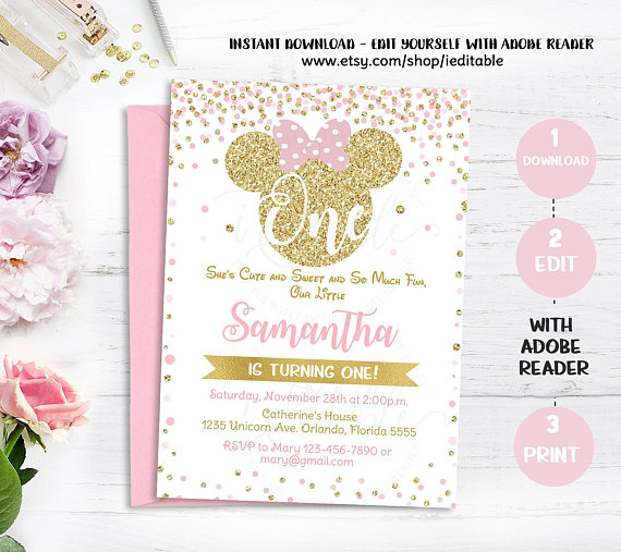 Pink And Gold Minnie Mouse 1st Birthday Invitation First Invite Girls Polk Dots Glitter Editable Templates Intant Download
