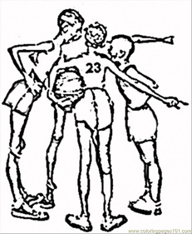 A Game Of Basketball By Norman Rockwell Coloring Page for