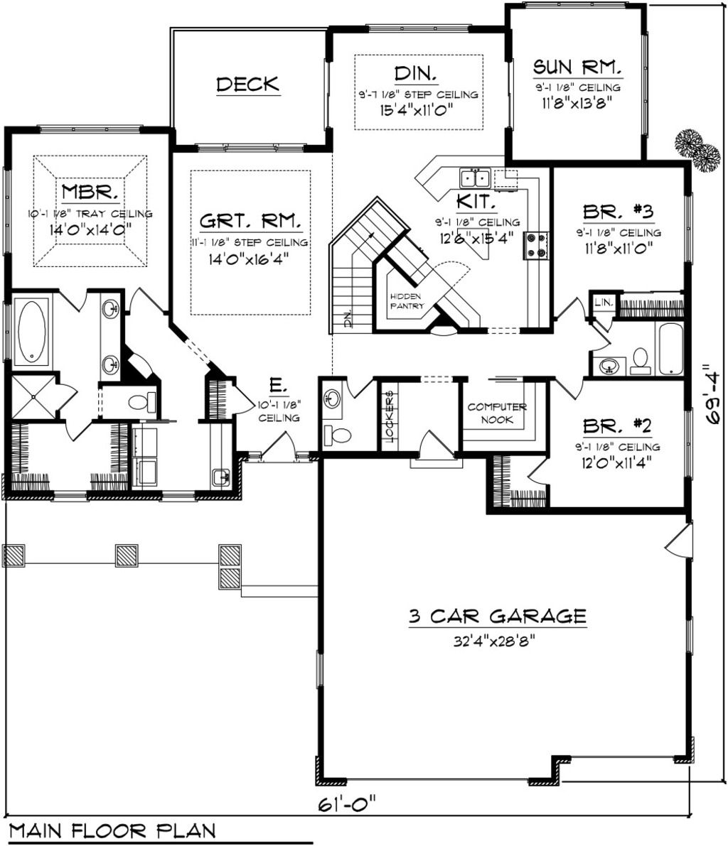 Craftsman Style Det Garage Garage Plans: 3 Beds 2.50 Baths 2196 Sq/Ft