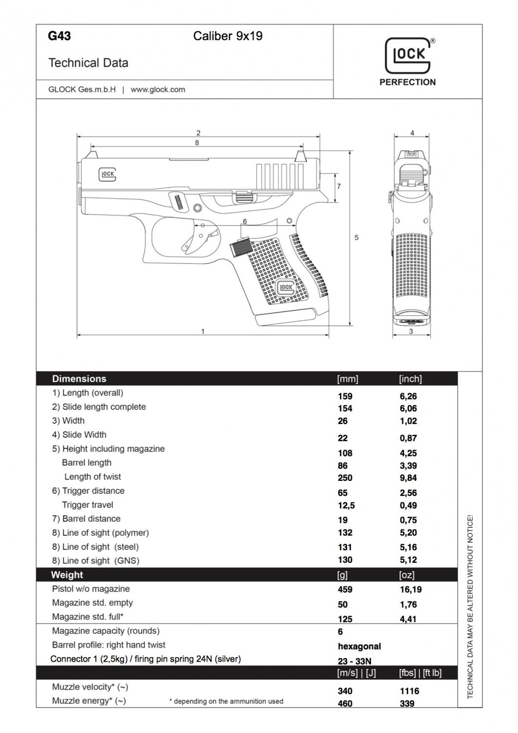 Glock 43 Specs Concealed Carry Weapons Pinterest Guns Taurus Ultra Lite Schematics