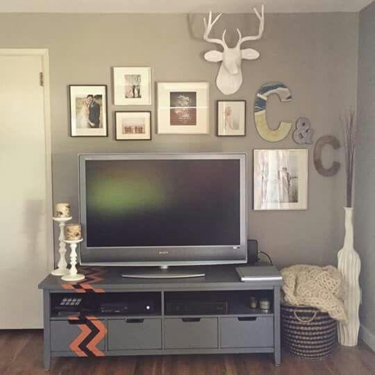 Gallery Wall Above Tv West Elm Deer Bust Tv Decor Tv Wall Decor Wall Decor Living Room
