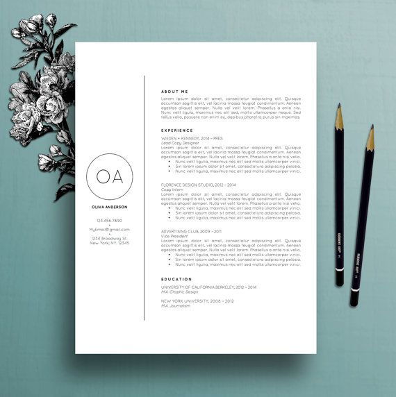 Professional Resume Template \/ CV Template + Cover Letter for MS - resume template download mac
