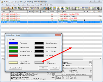 Customizing Ledger Colors In Dentrix G6 Dental Assistant Dental Color
