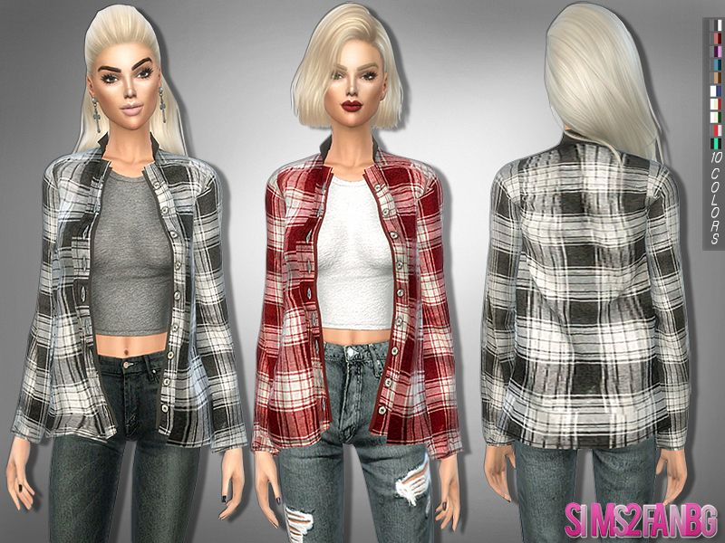 206 Button Up Shirt With Top Found In Tsr Category Sims 4