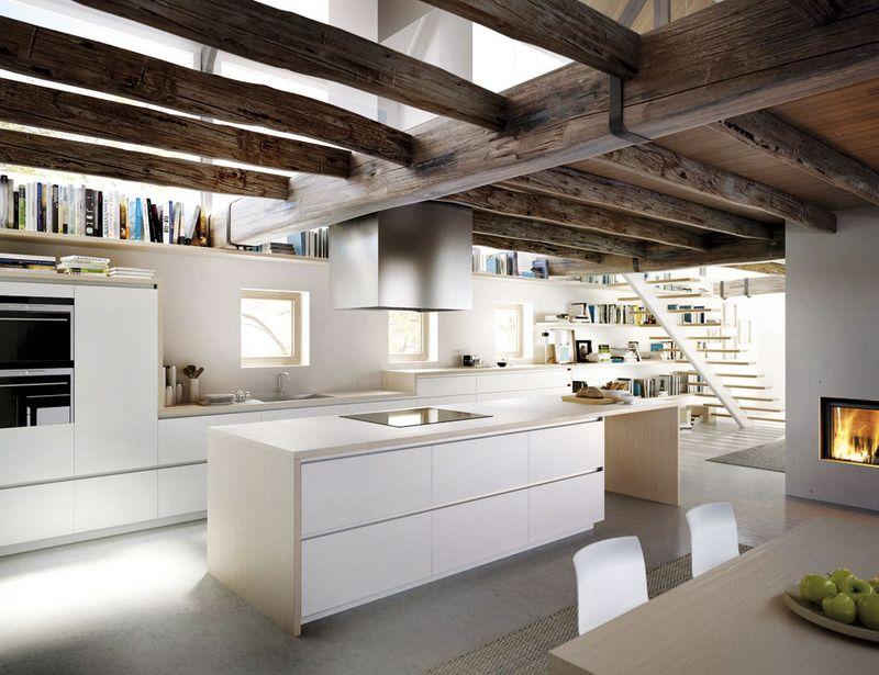 Cocinas integradas en el sal n vigas de madera cocinas - Cocinas integradas ...
