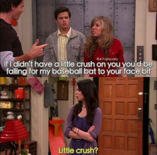 Sam, Carly, Freddie, and Spencer look at Freddie's face when Sam says that