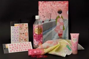 Different products such as handkerchief stickers etc. with sakura motif