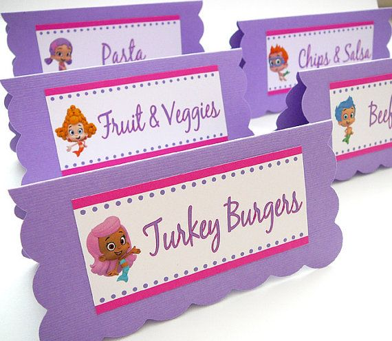 Bubble Guppies Birthday Party - Food Table Tent Cards ...