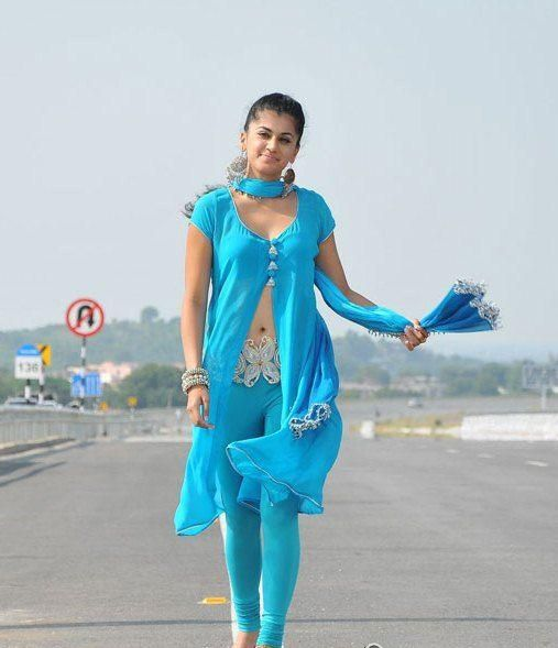 Tapsee Wearing Tight Blue Churidar Walking On The Road