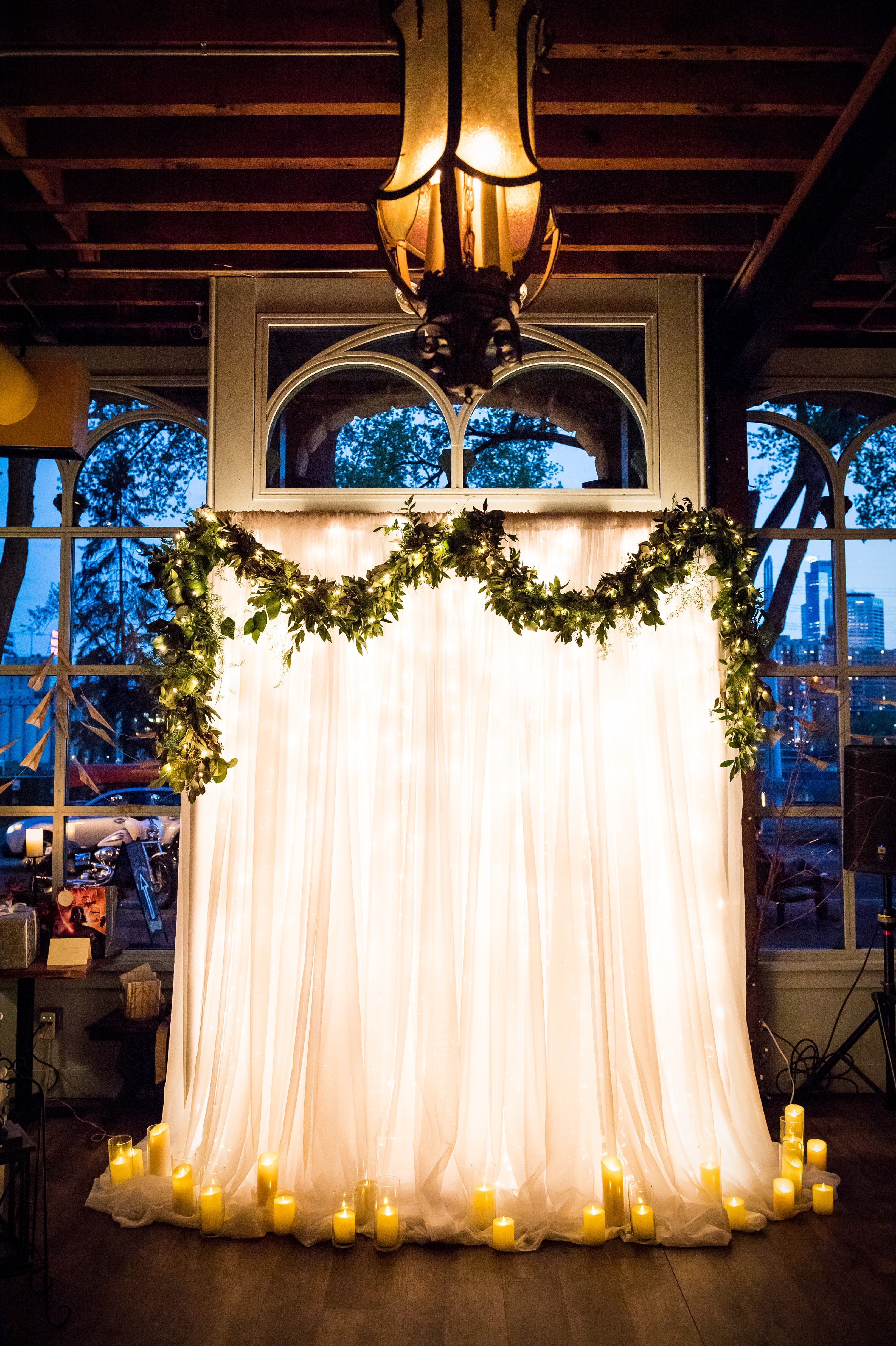 Ceremony backdrop floral designed by Minneapolis wedding