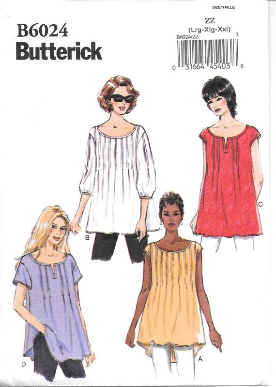 Butterick 6024, Misses Tops Sewing Pattern, New Uncut pattern, Size ...