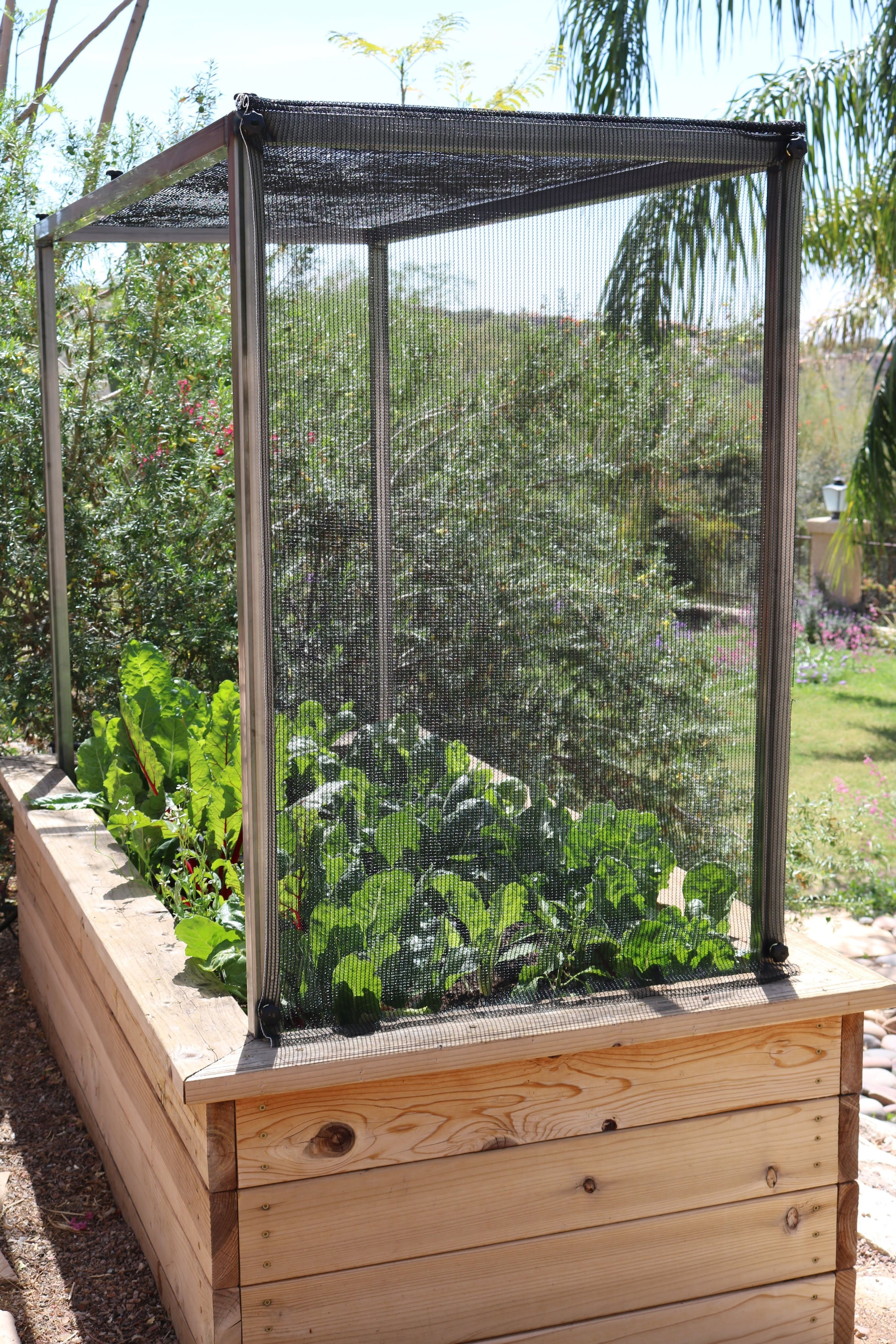 Raised Garden Bed With Metal Frame System And Shade Cloth