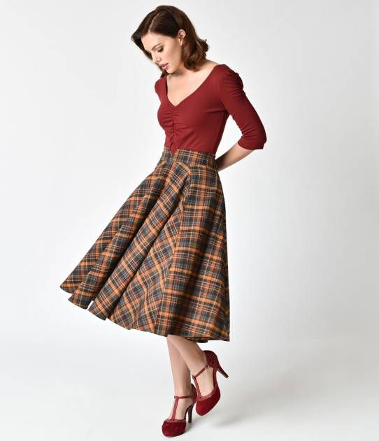 9306de14230ce8 Collectif Orange Tartan Highland Odette High Waist Midi Skirt ...