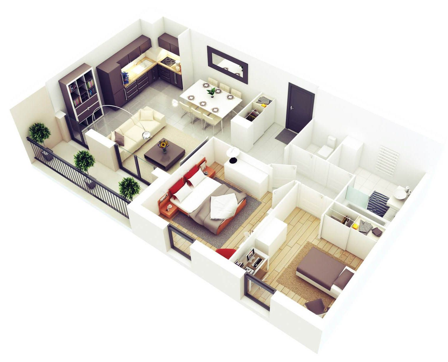 20 More 2 Bedroom 3D Floor Plans