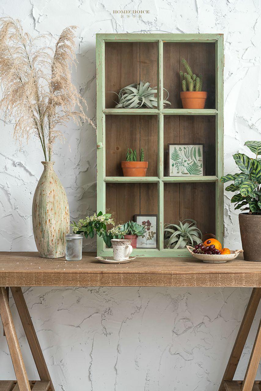 润家家居美式乡村欧式绿色做旧柜子复古家居系列罗马柱架子餐边柜 淘宝