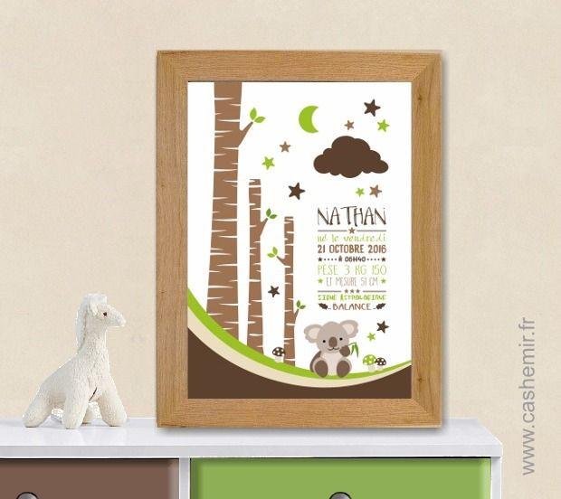 Affiche naissance bébé, cadeau de naissance garçon personnalisé, tableau chambre bébé enfant - Fichier Imprimable - n°13 : Chambre d'enfant, de bébé par cashemir
