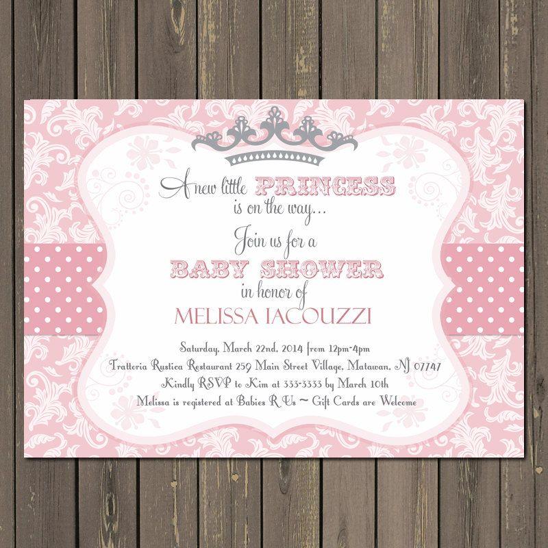 invitación de princesa baby shower en rosa y por partypopinvites, Baby shower invitations