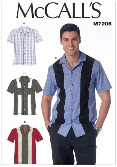 McCalls 7206 Mens Retro Fitted Bowling Shirt Vintage Style sizes 34 ...