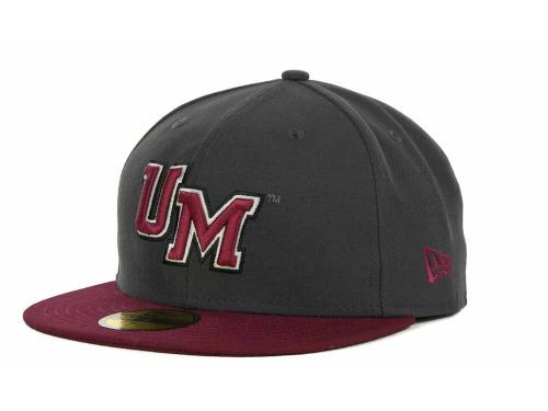 Massachusetts Minutemen New Era NCAA 2 Tone Graphite and Team Color 59FIFTY Cap Hats