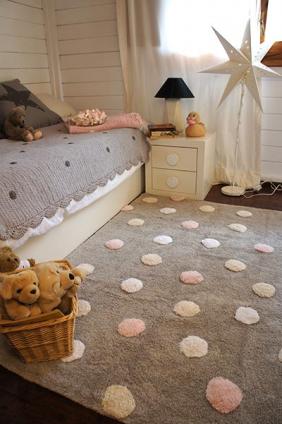 Alfombra infantil gris topos tricolor rosa en 2019 - Alfombras habitacion bebe ...