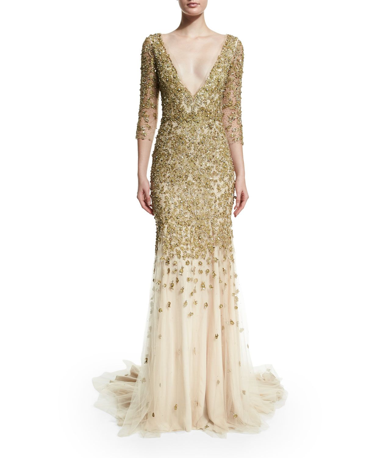 Marchesa sleeve crystalembellished gown gold high style