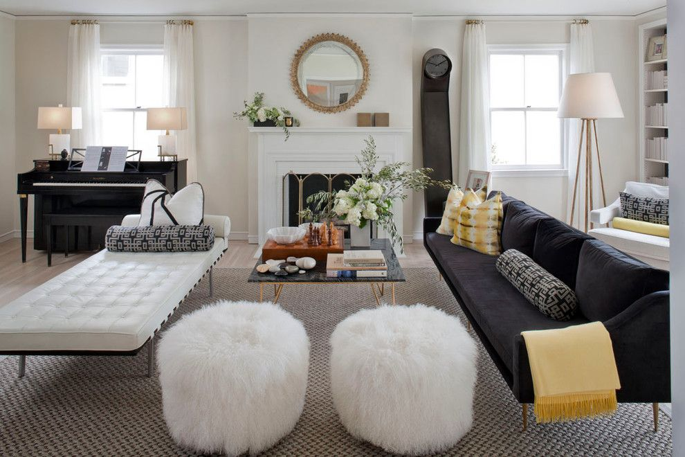 ottoman and banquette for living room. lisa sherry living room
