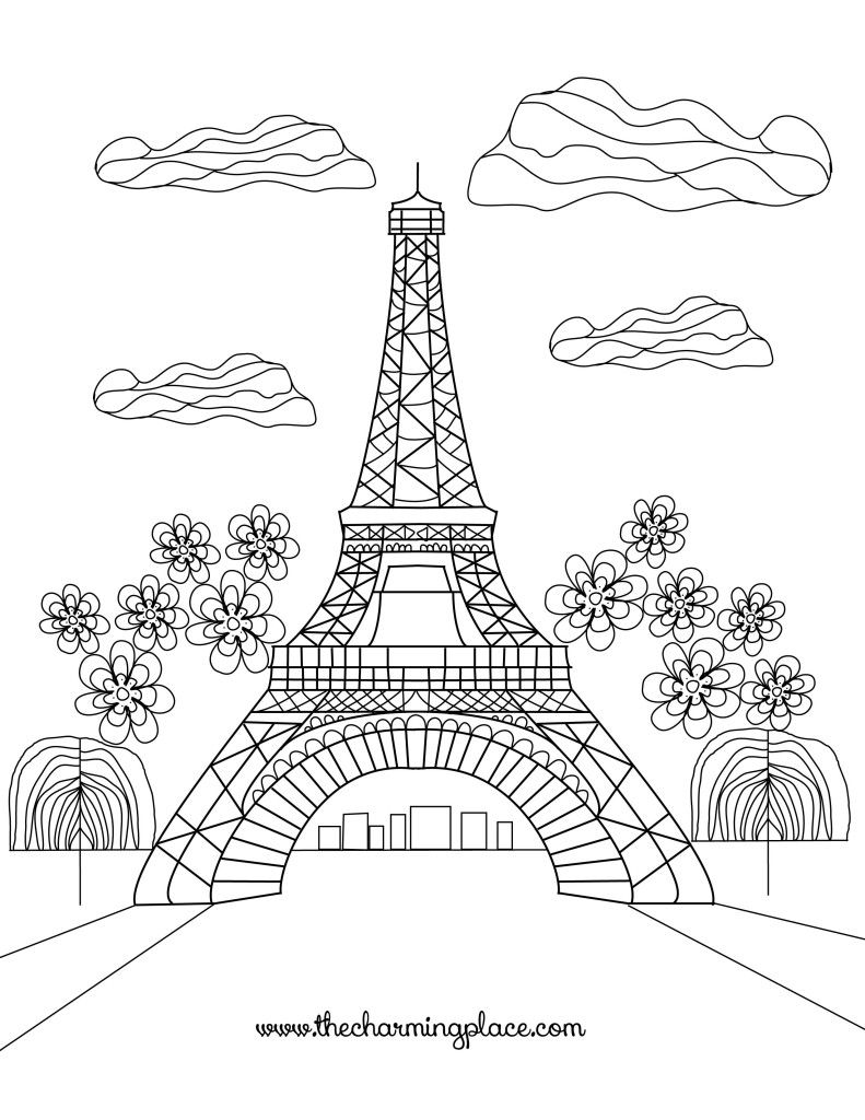 Free Adult Coloring Pages. This one is of Paris! Free