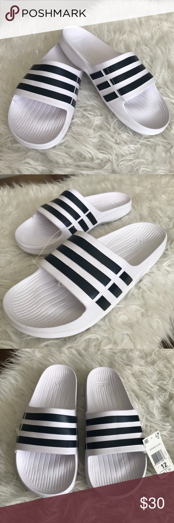 7385cb950 NWT Adidas White Navy Duramo Slides Men s Adidas Duramo Light Weight White  w  Navy Stripe Slides Size 12 Light weight