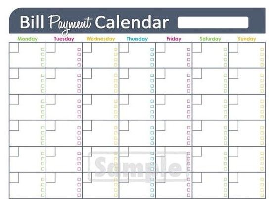 monthly bill payment calendar excel Planner/Journal Bill