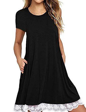 8714897e86370 Ecolley Black Summer Fashion T Shirt Dresses for Women Casual Loose Short  Sleeve Tunic Dress Size XXL