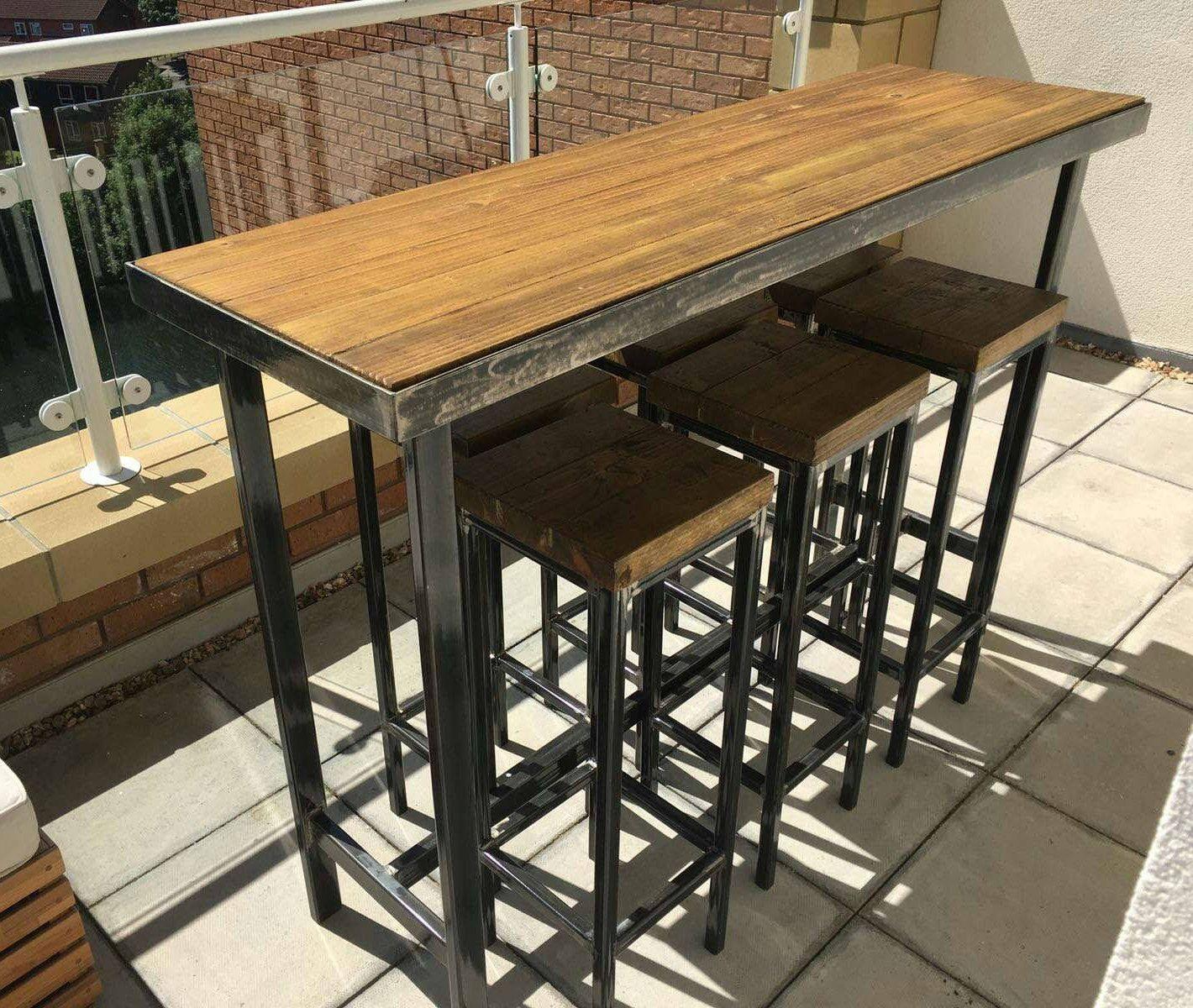 Handmade Bespoke Outdoor Indoor Modern Industrial Long Narrow Patio Bar Table Bar Table Modern Industrial Furniture