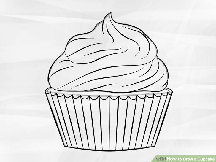 Cupcake Sketch Vector Image On Vectorstock Easy Drawings Cupcake Drawing Drawing For Kids