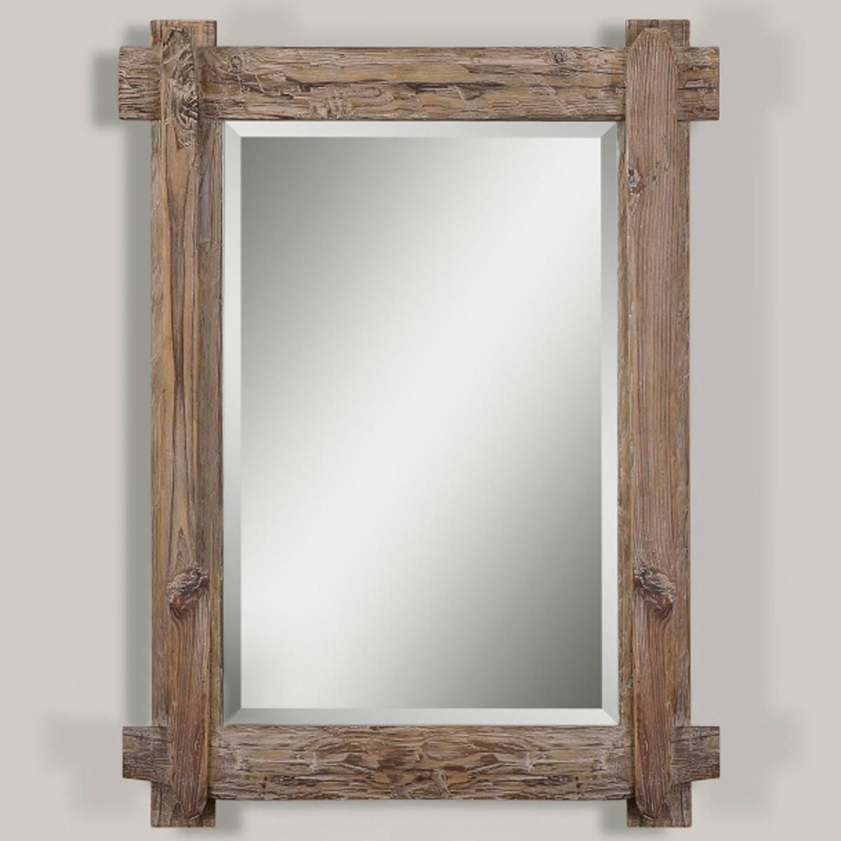 Rustic walnut mirror walnut stain woods and lights for Wood framed mirrors