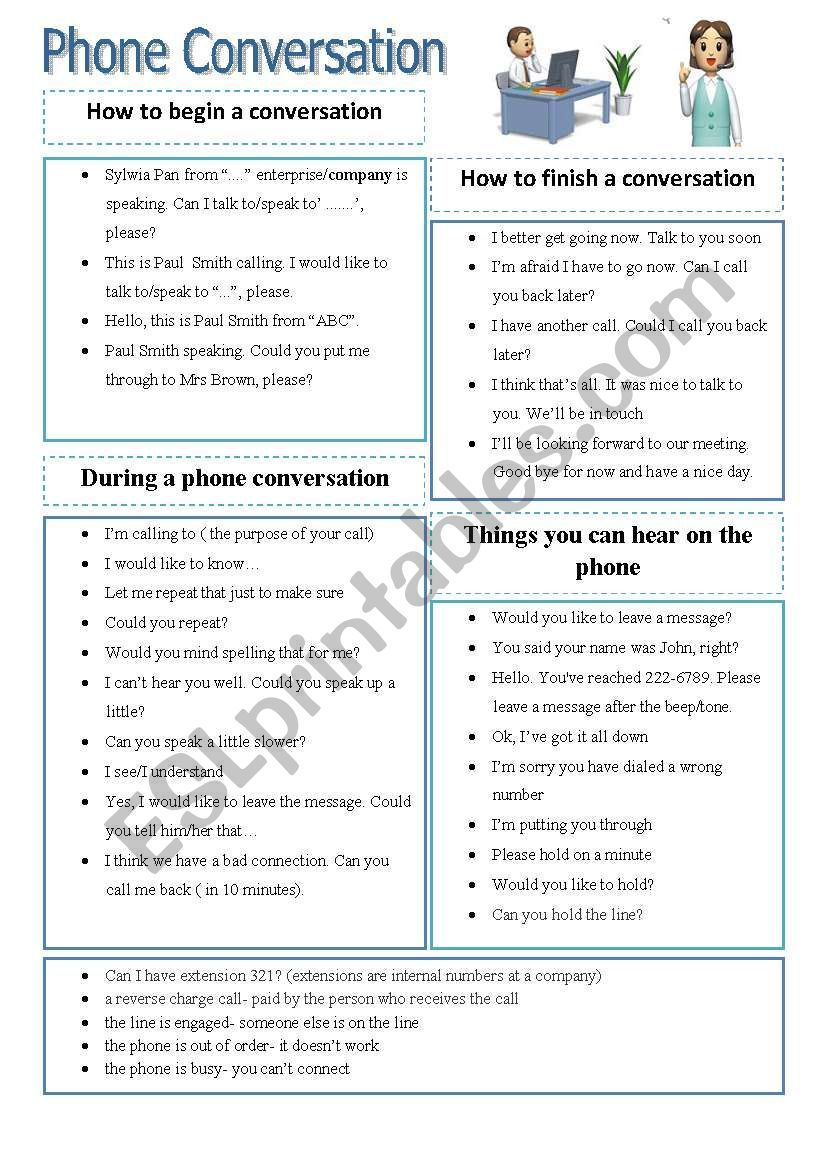 Some vocabulary to use while talking over the phone