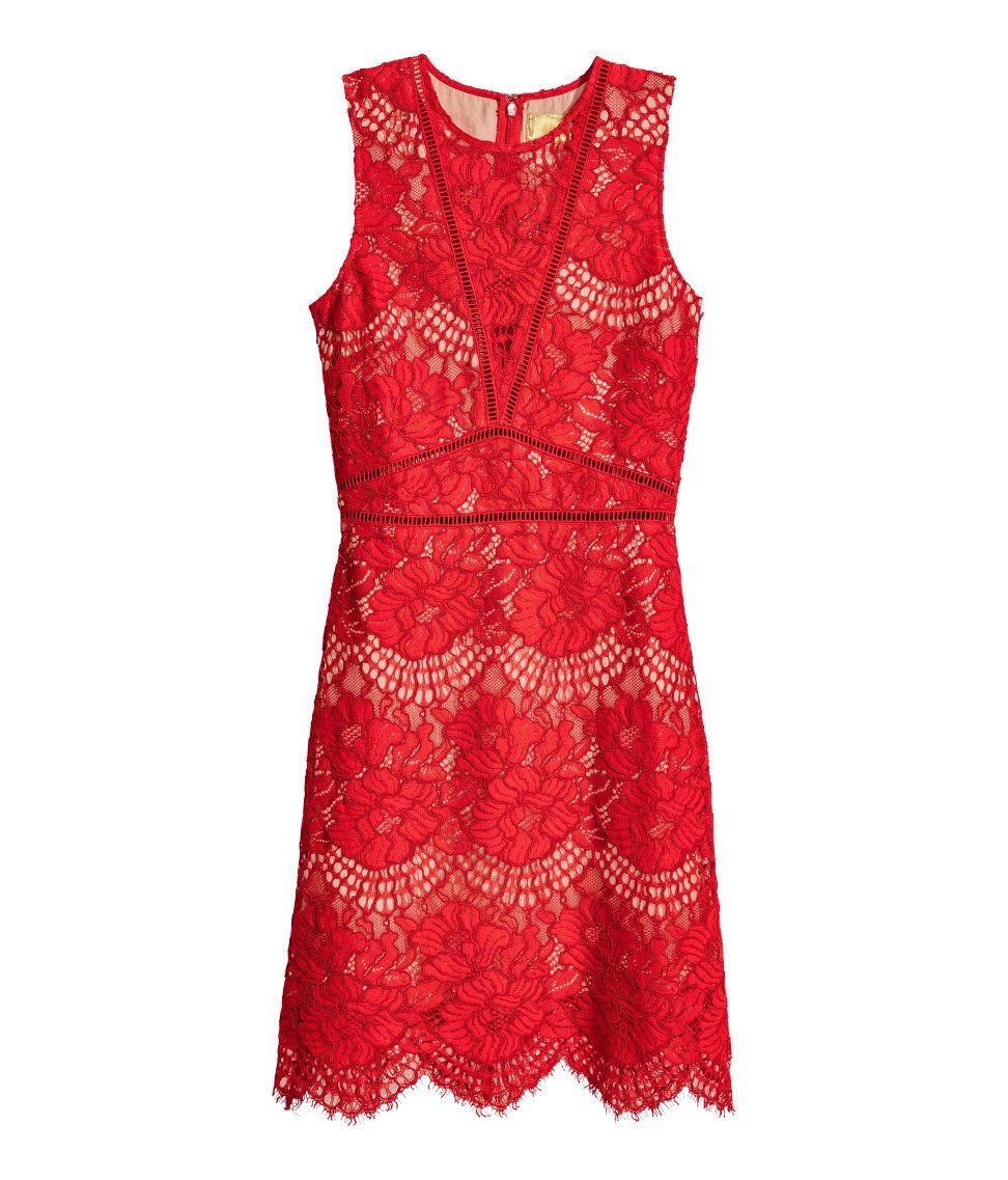 aad9274e501d Spetsklänning | Röd | Dam | H&M SE | Dresses & Jumpsuits | Kläder ...