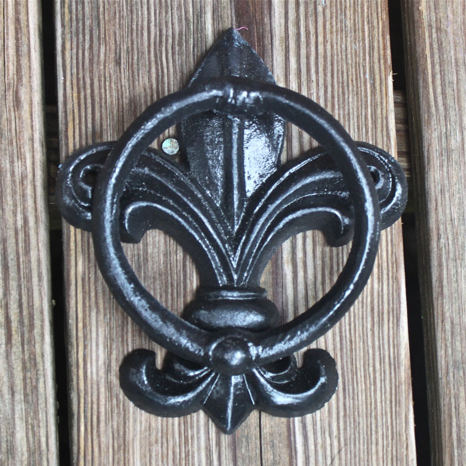 Fleur De Lis Door Knocker Black Hand Towel Rack Cast Iron French Country