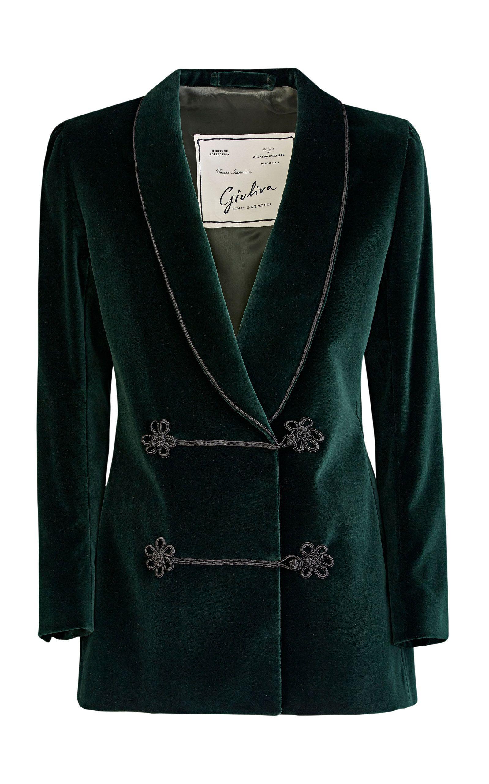 Button Jacket Claudia 2019 In Frog Velvet Breasted Dinner Double GUzSpjLMVq