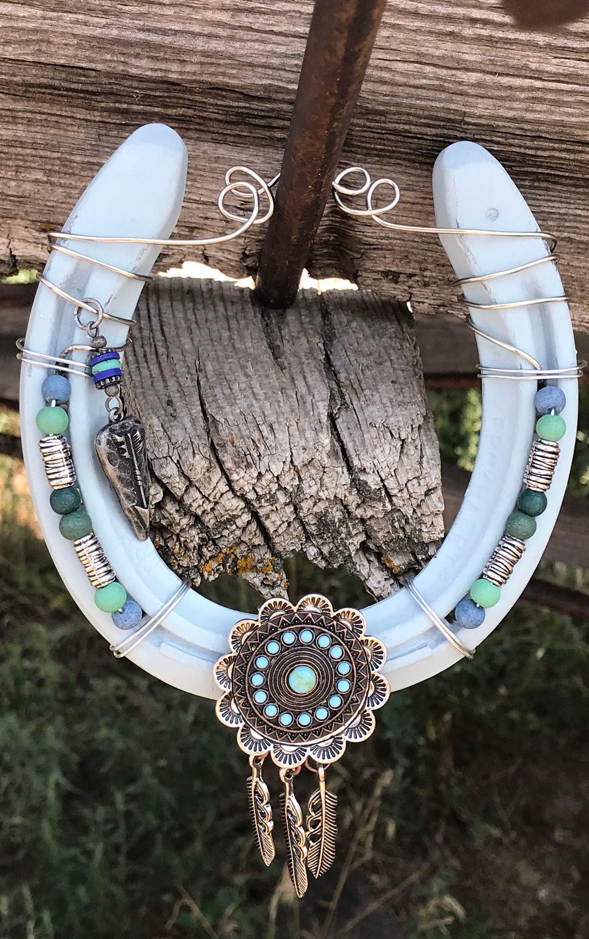 Feather Pendant Horseshoe Lucky Horseshoe Decorated Cowgirl
