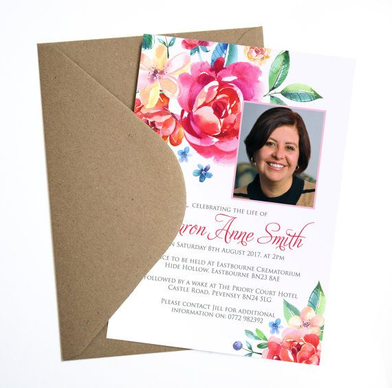 Funeral Memorial Announcement or Invitation - Bright Floral