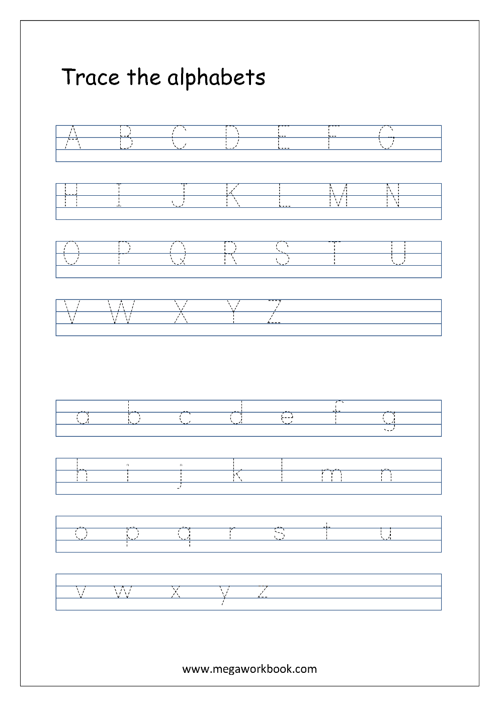 english worksheet alphabet tracing capital and small letters a z a z english worksheets. Black Bedroom Furniture Sets. Home Design Ideas