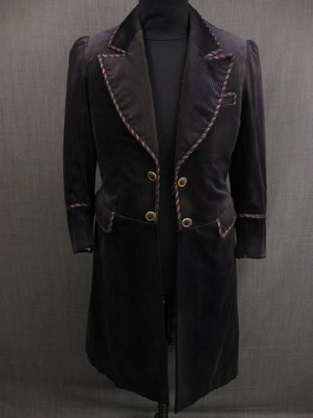 09016003 Frock Coat Men's 1880 Distressed, indigo gold pinstripe ...