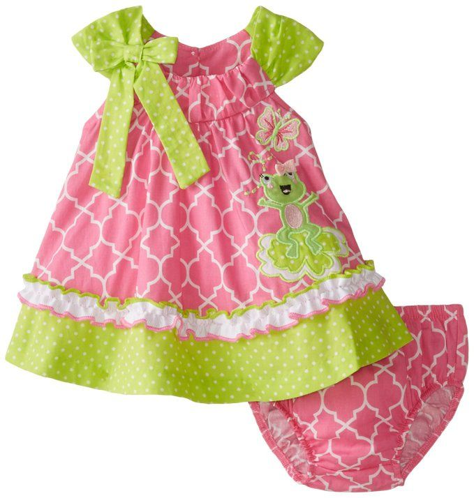 Bonnie Baby Baby-Girls Newborn Frog Appliqued Float Sundress, Pink, 3-6 Months