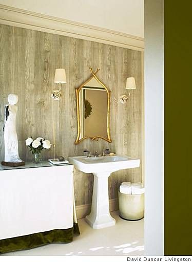 Like the textured wall paper (and the gold mirror!) | Home sweet ...
